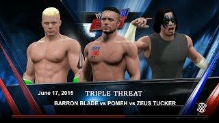 WWE 2K15. POMEH vs BARRON BLADE vs ZEUS TUCKER