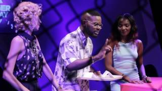 Simi acts like Seyi Shay complaining at a restaurant while Samantha Walsh acts like Phyno as a Pilot