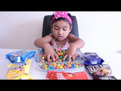 Funny Baby Ishfi Learn Colors with M&M Smarties Maltesers Candy Sweet Chocolate