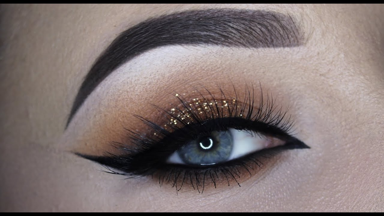 Warm brown glitter cateye makeup tutorial youtube warm brown glitter cateye makeup tutorial baditri Images