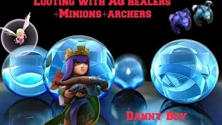 Clash of Clans-AQ Healer Walk for looting with minions and archers #169