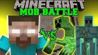HEROBRINE VS DIAMOND GOLEM, MUTANT CREEPER, & TITAN - Minecraft Mob Battles - Mods