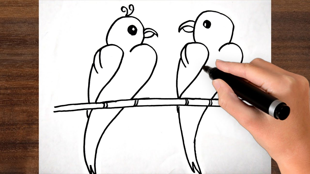 How To Draw Love Birds From Number 2222 ! Step By Step ! Weary Easy And Cute Drawing