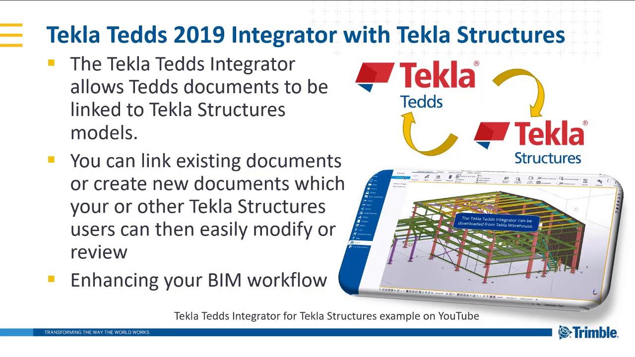 Tekla Structures Integrator for Tekla Tedds 2019