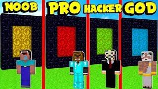 NOOB vs. PRO vs. HACKER vs. GOD: SECRET PORTAL BASE in Minecraft! | JeromeASF