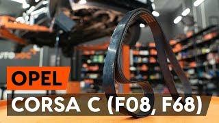 Como e quando mudar Correia de acessorios OPEL CORSA C (F08, F68): vídeo tutorial