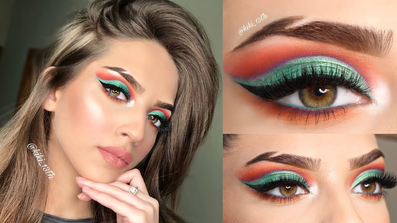 mettalic green eye shadow ( full face makeup tutorial )