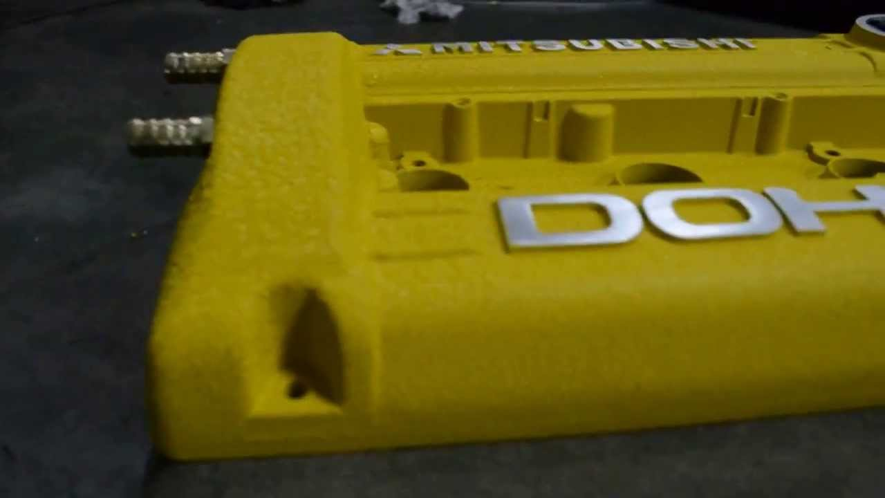 Custom 4g63 Rocker Cover Paint With Yellow Wrinkle Youtube