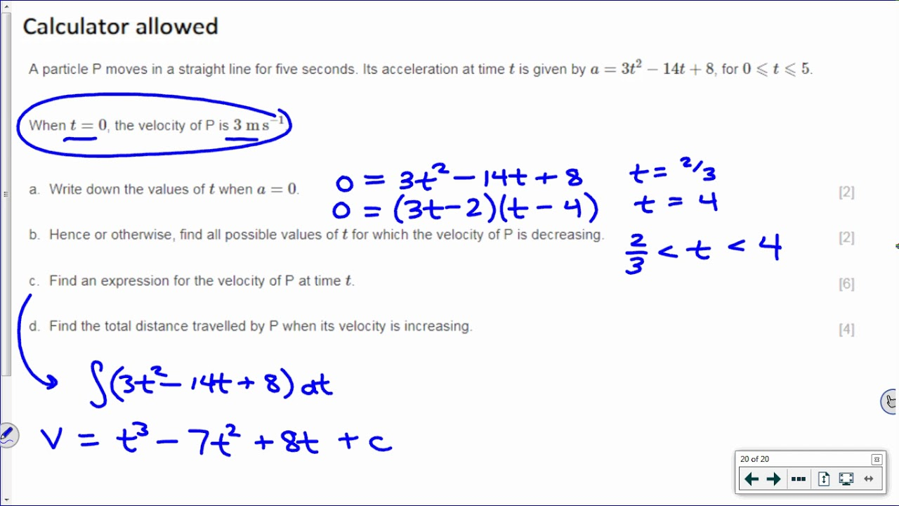 [IB Math SL] Exam Review Example: (Longer) Kinematics