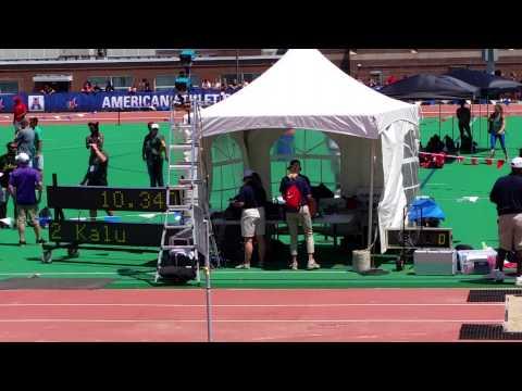 AAC 100m Mens Finals Robinson 9.98!! 51715