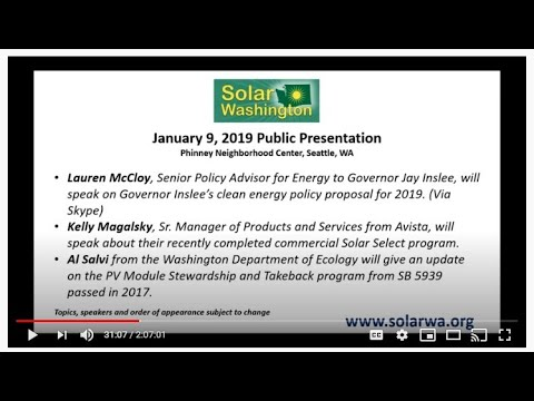 Solar Washington January 2019 Public Solar Forum