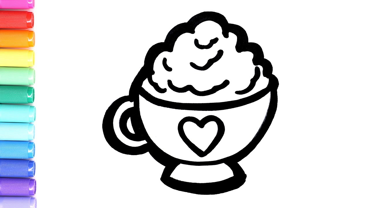 Drawing and coloring hot chocolate coloring page learn to for Hot chocolate coloring page