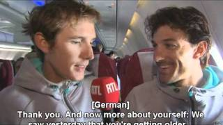 Andy Schleck jokes around as reporter (2011 TdF) [Eng. sub.]