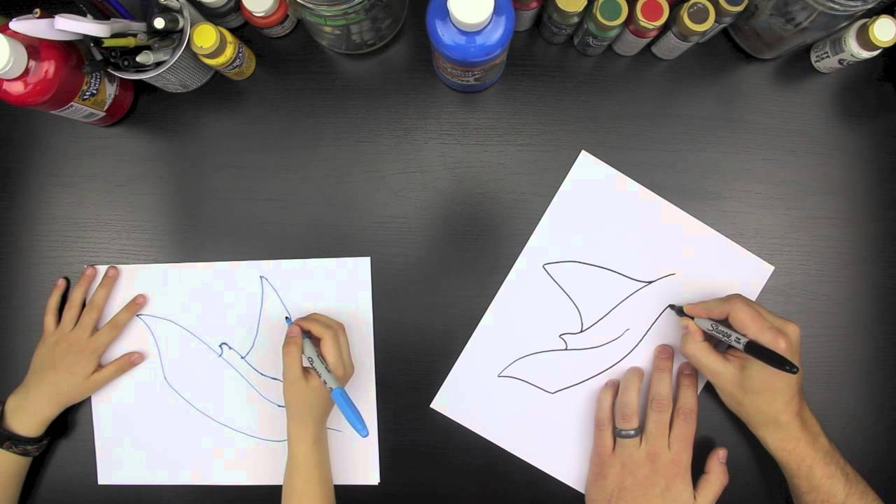 How To Draw A Manta Ray (for kids) - YouTube