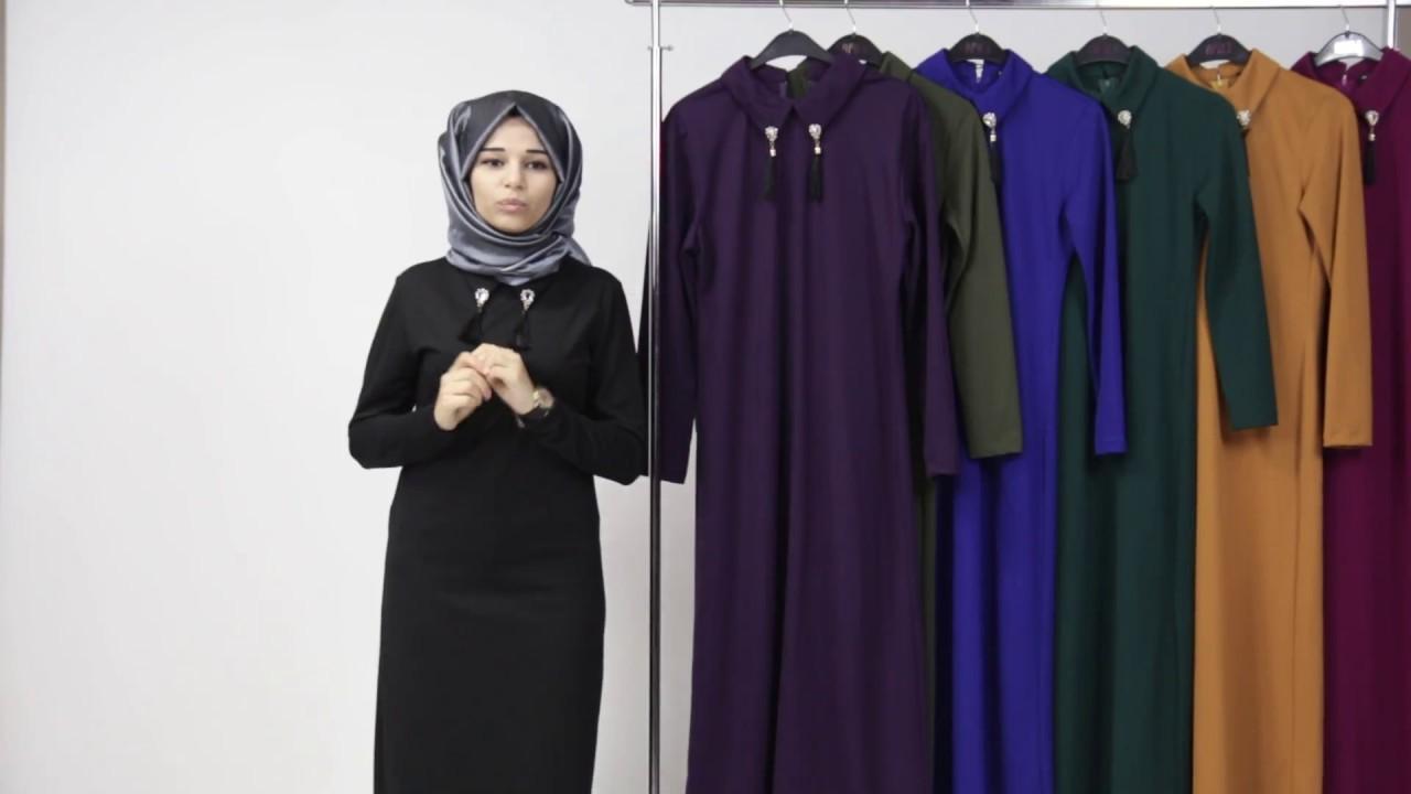473296aa2d106 Tesettür Elbise - Broşlu Boydan Elbise - YouTube