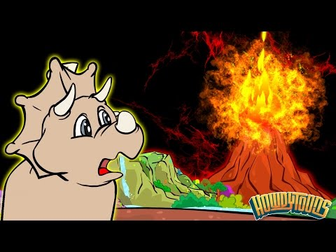 SMOKE - FIRE - LAVA - VOLCANO | Dinosaur Songs and Dinosaur Cartoons | Dinostory by Howdytoons S2E1