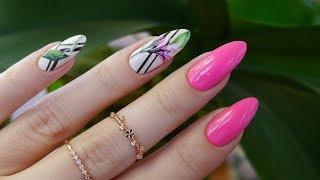 Неоновые ногти Тропический принт Летний маникюр Обычный лак