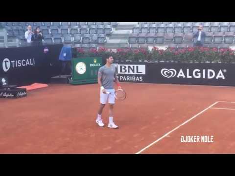 Novak Djokovic Practice Before Match vs Dominic Thiem - Rome 2017 (HD)