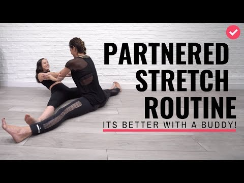 15 minute Partnered Stretch routine with trainers Chloe Bruce and Grace Bruce