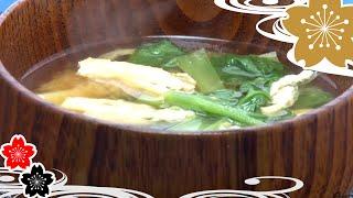 Соевый суп с картошкой и с японским шпинатом✿рецепты японской кухни