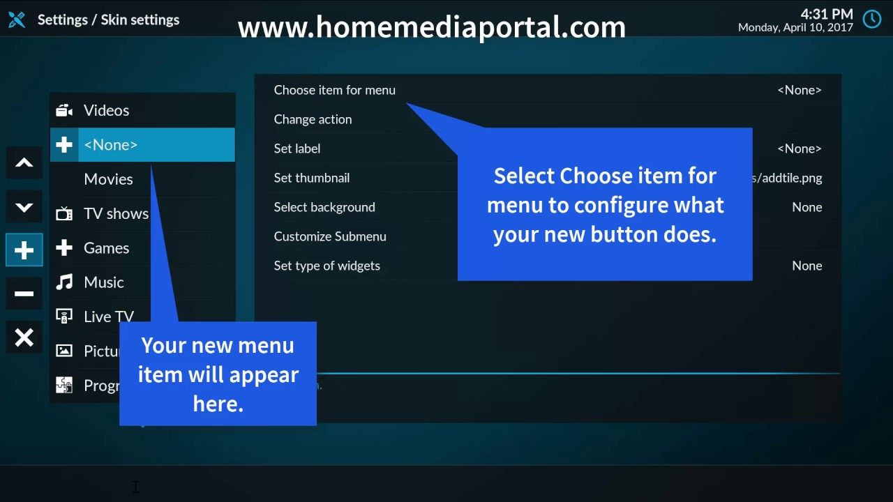 How to Customize Kodi Home Screen - Add Kodi Menu Items - Home Media