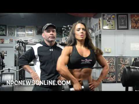 IFBB Figure Pro Kelly Lyons Shoulder Workout With Paul Neville at Bev Francis Powerhouse Gym