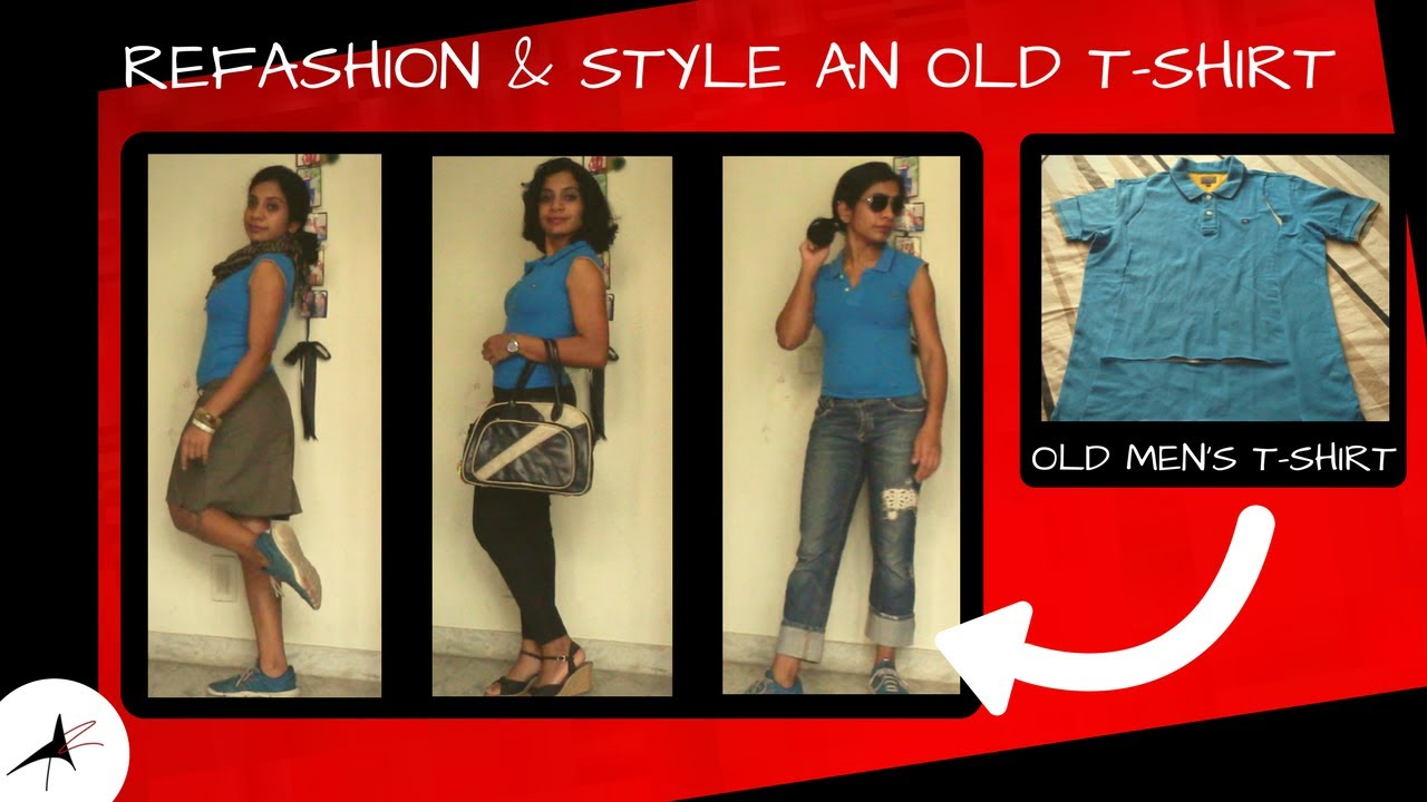 DIY: Convert Men's Collared T-Shirt | Recycle Damaged T-Shirt | Refashion And Style | Arpithara