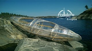 Homemade transparent kayak made from twigs and film stretch wrap Homemade kayak
