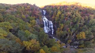 Whitewater Falls NC Phantom Flyover - Autumn leaves