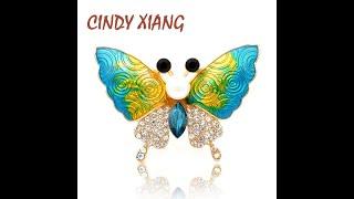 Женская брошь в виде бабочки cindy xiang с градиентной эмалью стразы насекомое красивая модная