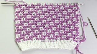 Узор для детской шапочки (6 месяцев - 2 года) / Мозаика / Вязание спицами