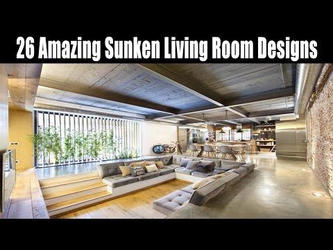 26 Amazing Sunken Living Room Designs - YouTube