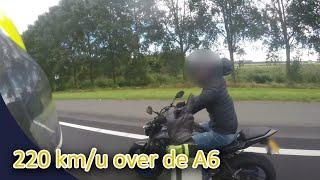 Motorrijder met 220 km/u over de A6. (in 4K) Politie Vlogger Jan-Willem. NR 48