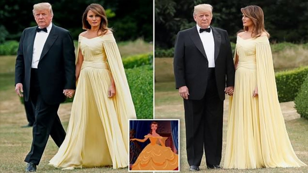 Melania Trump stuns in bright yellow cape for meeting with royals in ...
