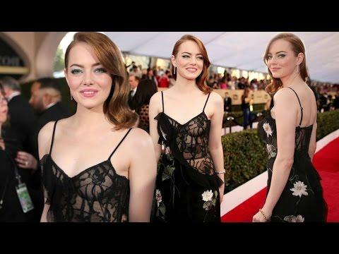Emma Stone Hot In Lingerie-Inspired Sheer Dress At SAG Awards 2017 !! Hollywood Daily