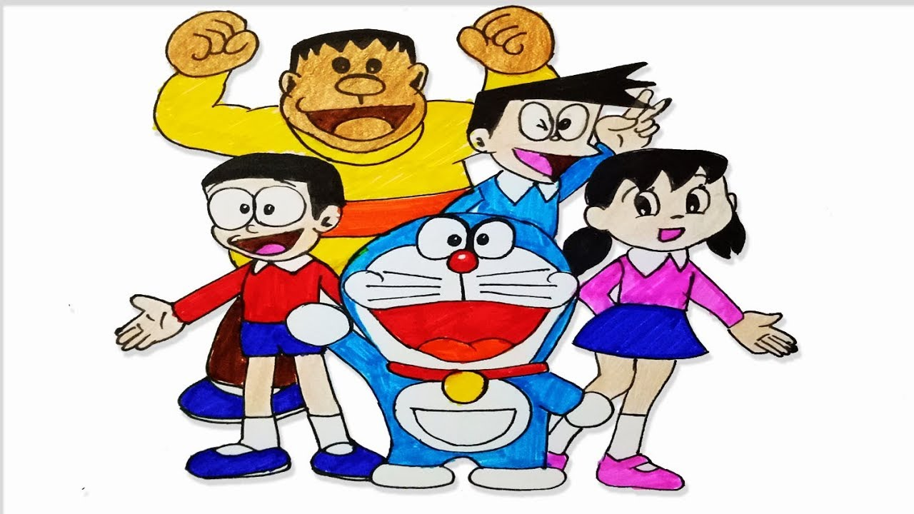 how to draw doraemon family step by step easy draw youtube