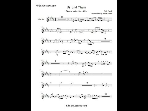 how to play us and them - pink floyd - alto sax