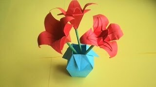 оригами ваза из бумаги / origami paper vase