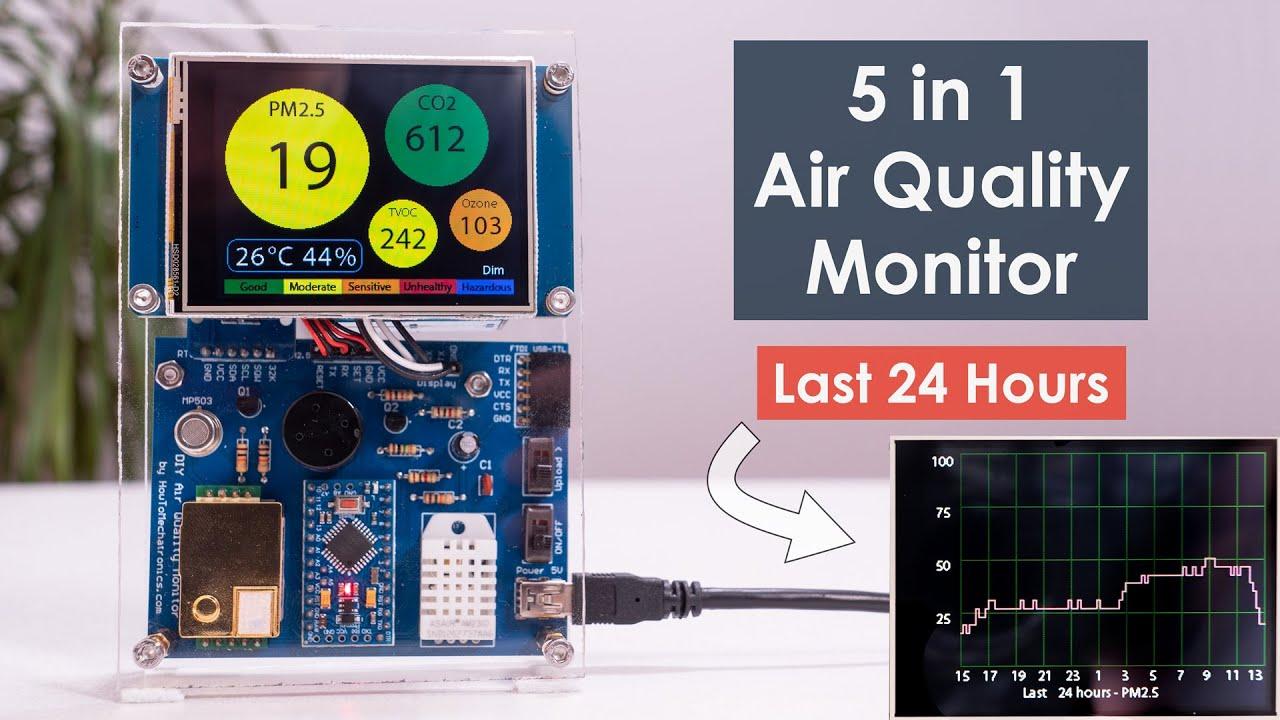 DIY Air Quality Monitor - PM2.5, CO2, VOC, Ozone, Temp & Hum Arduino Meter
