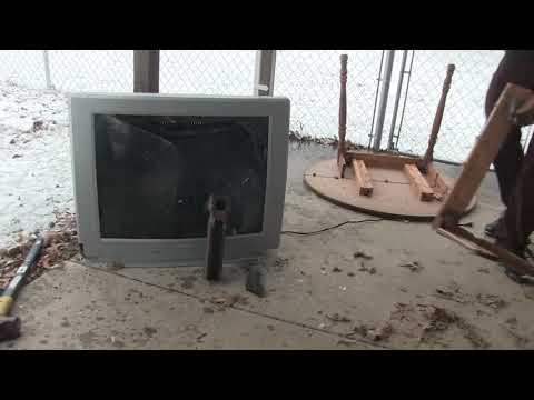 Heavy CRT TV Destruction