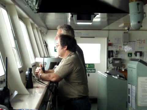 Mv Argenmar Austral - Port pilot in the bridge with the captain