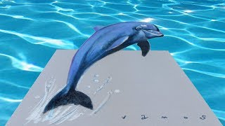 HOW TO DRAW 3D DOLPHIN - Drawing a Dolphin Illusion - 3D Trick Art