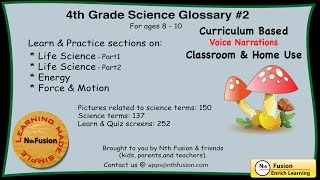 4th Grade Science Glossary # 2 : Learn and Practice Worksheets for home  and classroom