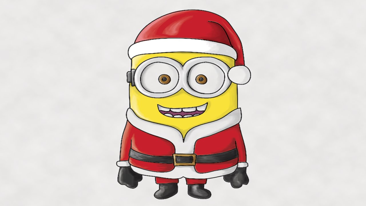 how to draw a minion santa claus colored in photoshop youtube