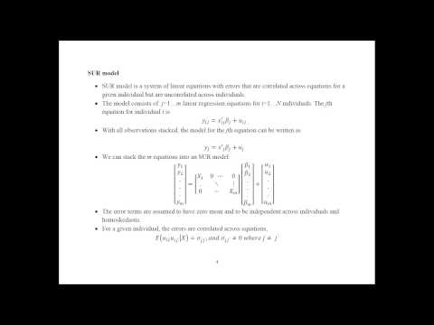 Econometrics - Seemingly Unrelated Regressions (SUR)