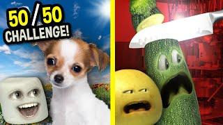 Cute Puppy OR Zucchini Getting Knifed!! | Reddit 50/50 CHALLENGE! (Annoying Orange)
