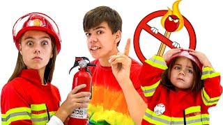 Nastya Artem and Mia - fireman and dangerous matches for children