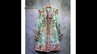 Женское платье с длинным рукавом seqinyy зеленое плиссированное жаккардовое винтажное цветочным