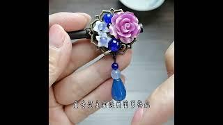 자개 장미꽃 원석 헤어장식 원목비녀 뒤꽂이 올림머리장신…