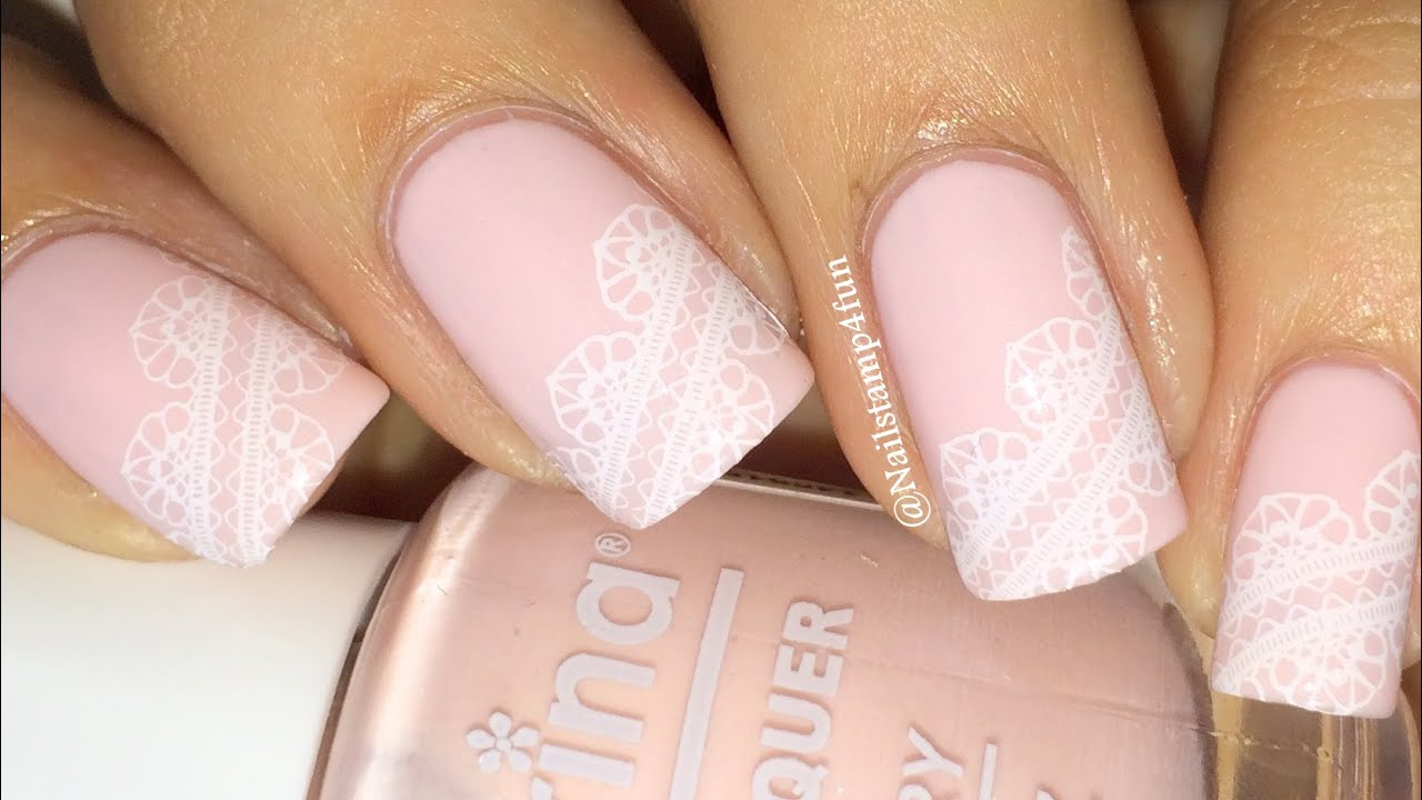 Bridal Nails Wedding Lace Nail Stamping